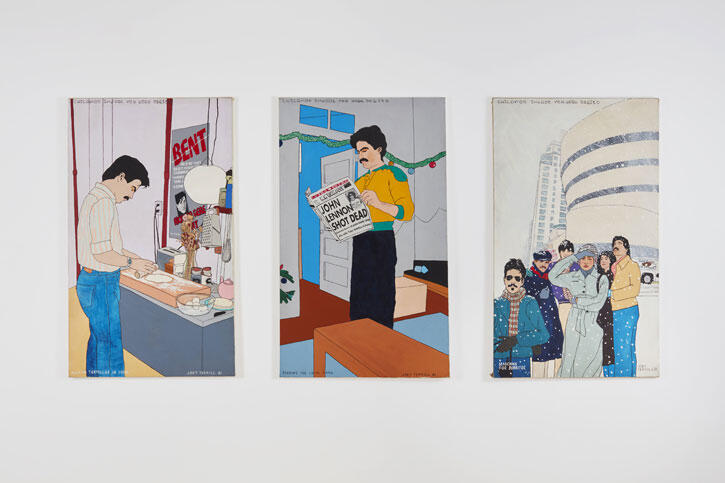 Joey Terrill Chicanos Invade New York , 1981 Acrylic on canvas series Three parts: 60 x 36 inches (152.4 x 91.4 cm) each Courtesy the artist and Ortuzar Projects, New York; Photo Timothy Doyon
