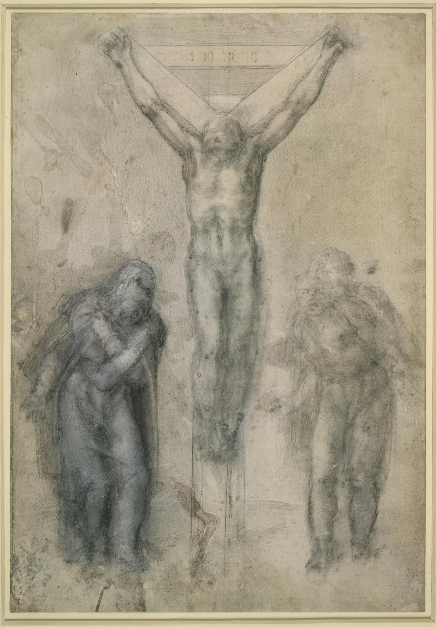 Michelangelo, Christ on the Cross Between the Virgin and St John, c.1555-1564, black chalk and white lead on paper, 41 x 29 cm. Courtesy: British Museum, London