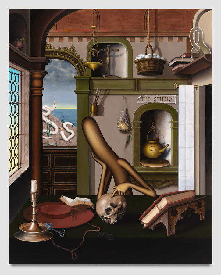 Emily Mae Smith The S tudio (Speculative Objects) , 2021 Oil on linen 214 x 170 cm | 84 x 67 inch ©Courtesy of the Artis