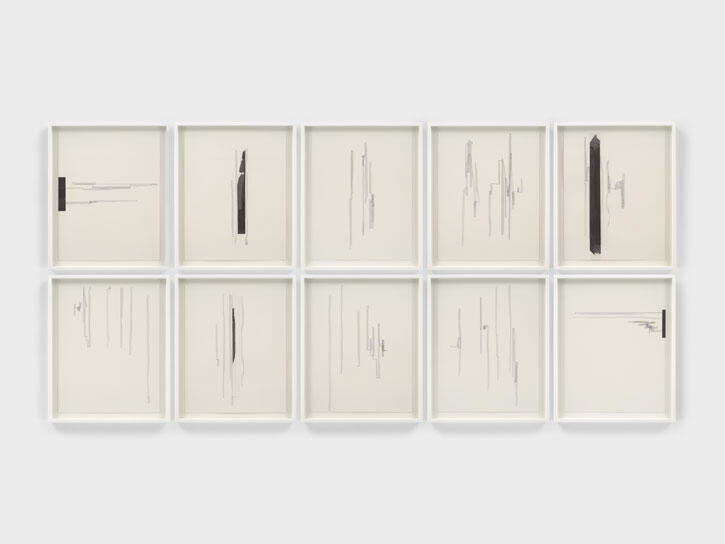 Jennie C. Jones, Graphite Score, 2021, collage, acrylic and ink on paper in 10 parts, 51 × 41 cm each. Courtesy: the artist and Alexander Gray Associates, New York