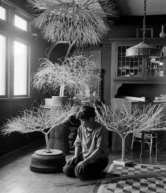 Asawa in her dining room with tied-wire sculptures, San Francisco, 1963. Photo by Imogen Cunningham. © 2020 Imogen Cunningham Trust. Artwork © Estate of Ruth Asawa, Courtesy David Zwirner