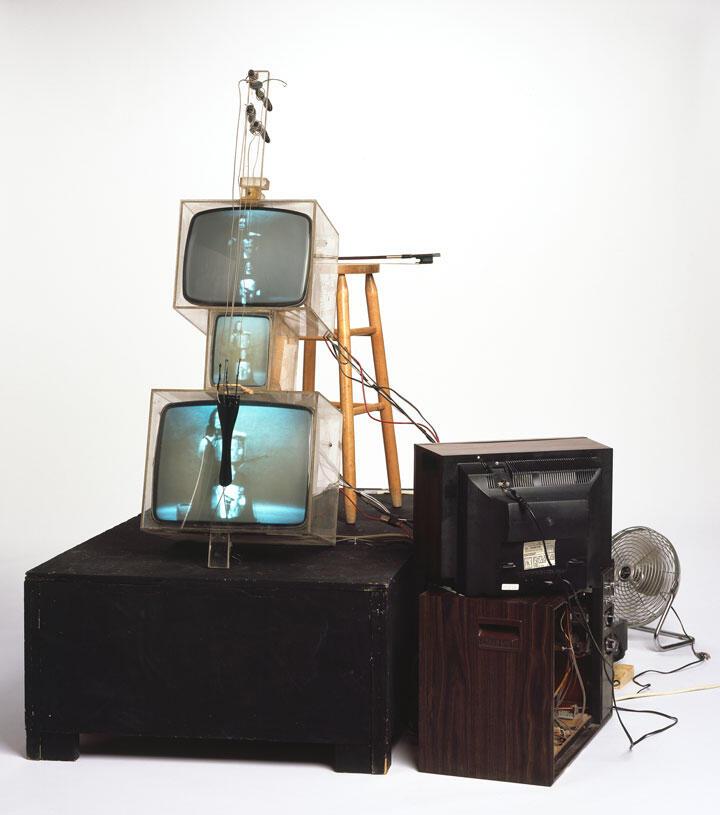 Nam June Paik,TV Cello,1971;collectionWalker Art Center, T.B. Walker Acquisition Fund, 1992, Minneapolis, formerly thecollectionof OttoPieneand Elizabeth Goldring, Massachusetts; © Estate of Nam June Paik