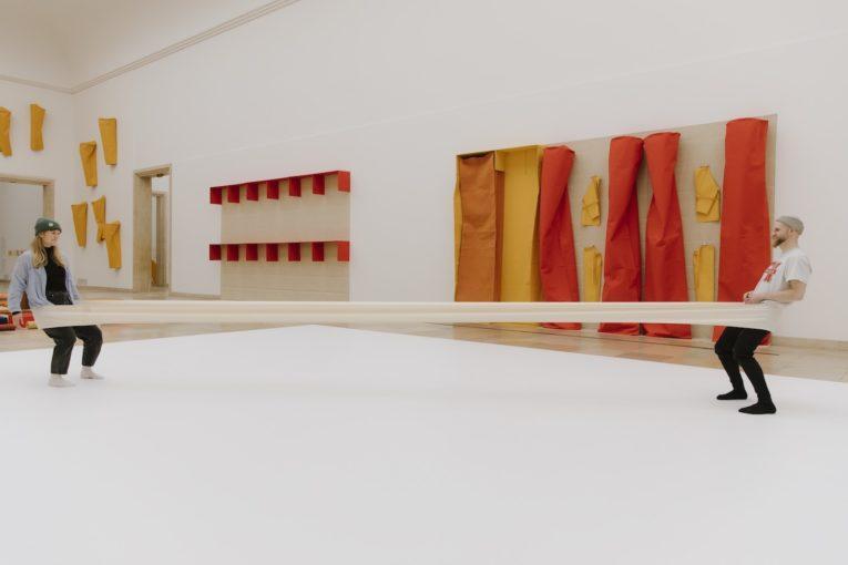 Installation view of Franz Erhard Walther at Haus der Kunst