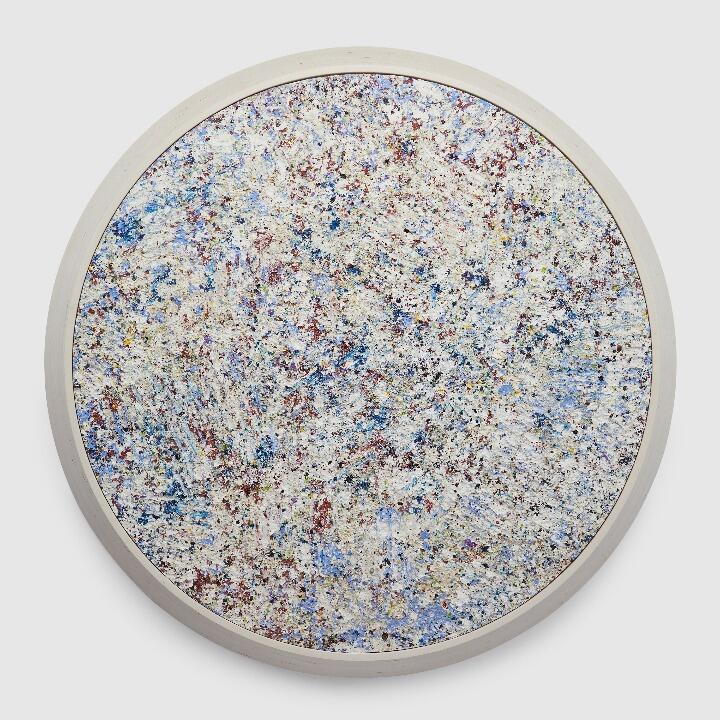 "Sam Gilliam Moon Tide , 2021 acrylic, sawdust, encaustic, on wood panel, mounted in wood frame 60"" × 60"" × 4"" (152.4 cm × 152.4 cm × 10.2 cm"