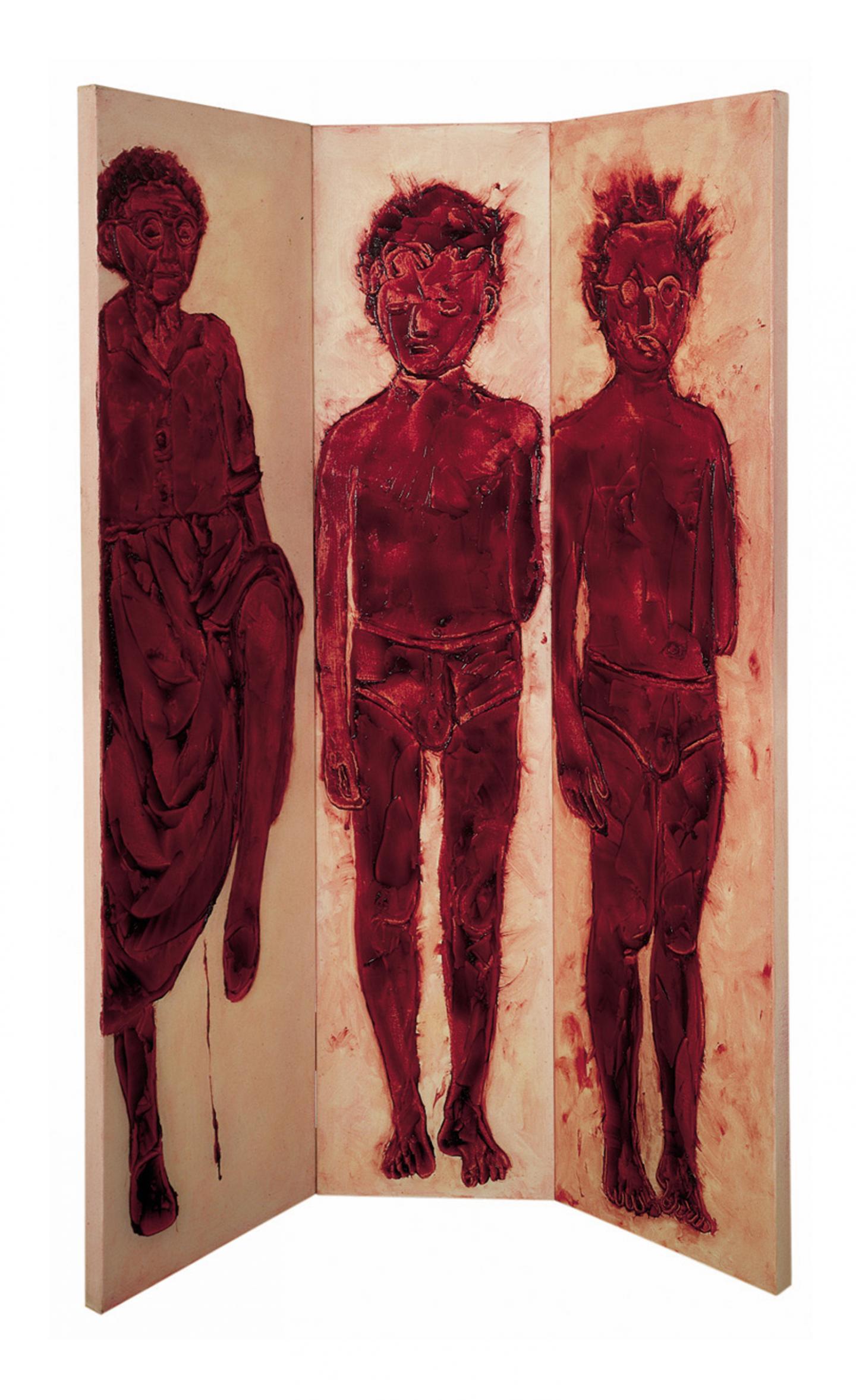 Ida Applebroog, Marginalia (trio), 1995, oil and resin gel on canvas, 3 panels, installation size variable. Courtesy: © Ida Applebroog and Hauser & Wirth; photograph: Emily Poole