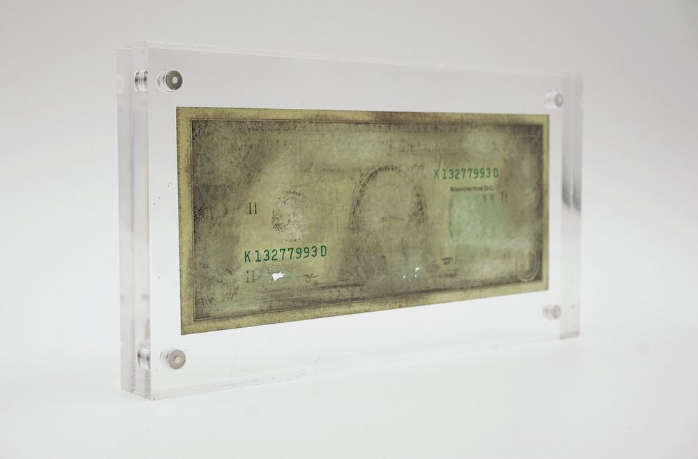 """AGUSTINA WOODGATE K13277993D, 2021 4.72"""" x 8.66"""" x 0.59"""" (12 cm x 22 cm x 1.5 cm) Hand sanded $1 US banknote in acrylic case"""