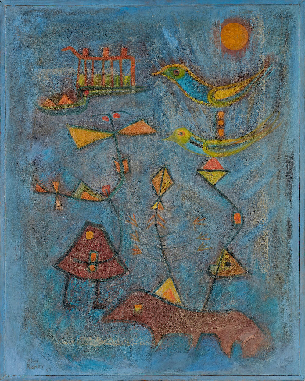 Alice Rahon, Painting for a Little Ghost Who Couldn't Learn to Read, 1947, oil and sand on canvas, 35 1/4 x 28 13/16 inches (89.5 x 73.2 cm