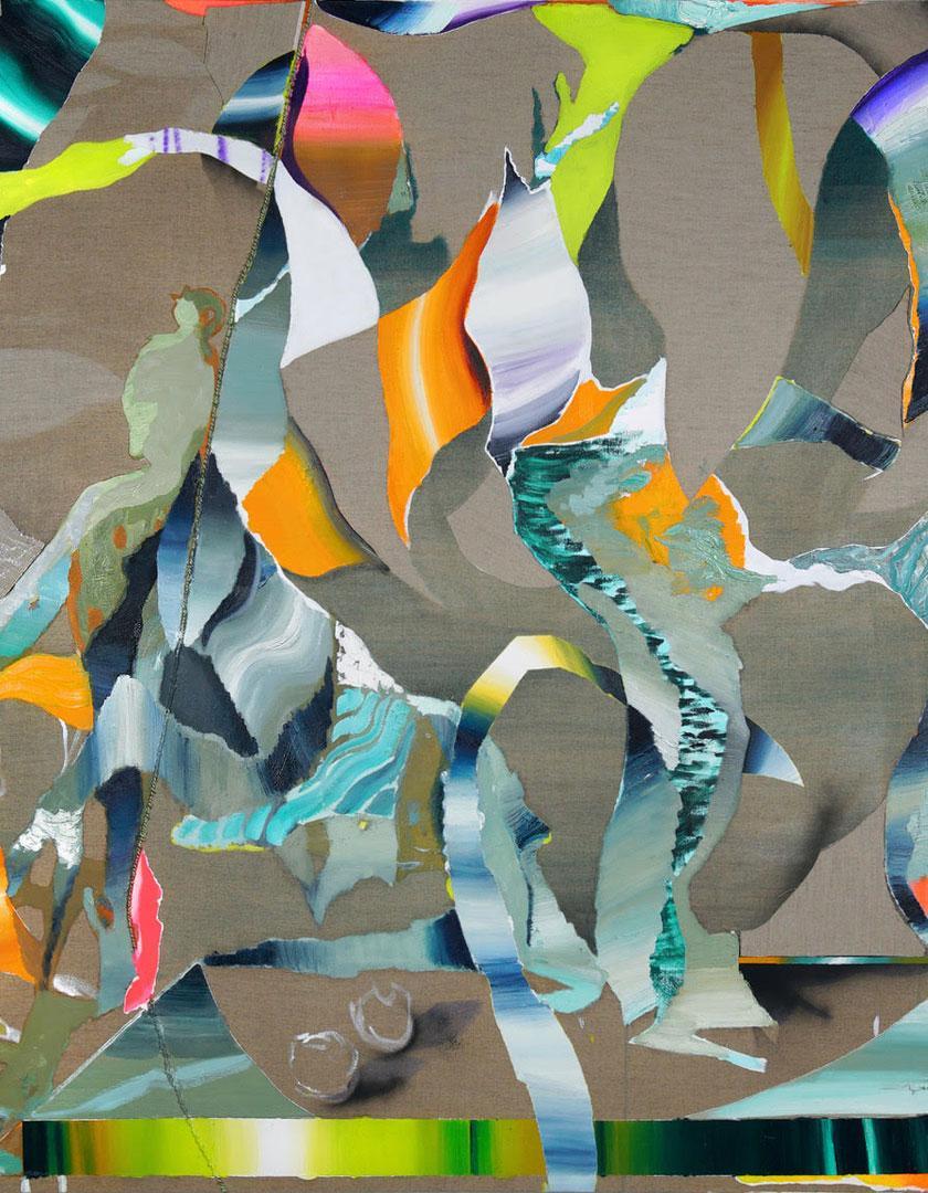 Allan Villavicencio, El pretendiente, 2021  Oil, acrylic, spray and recycled fabric on sewed linen  180 x 150 cm