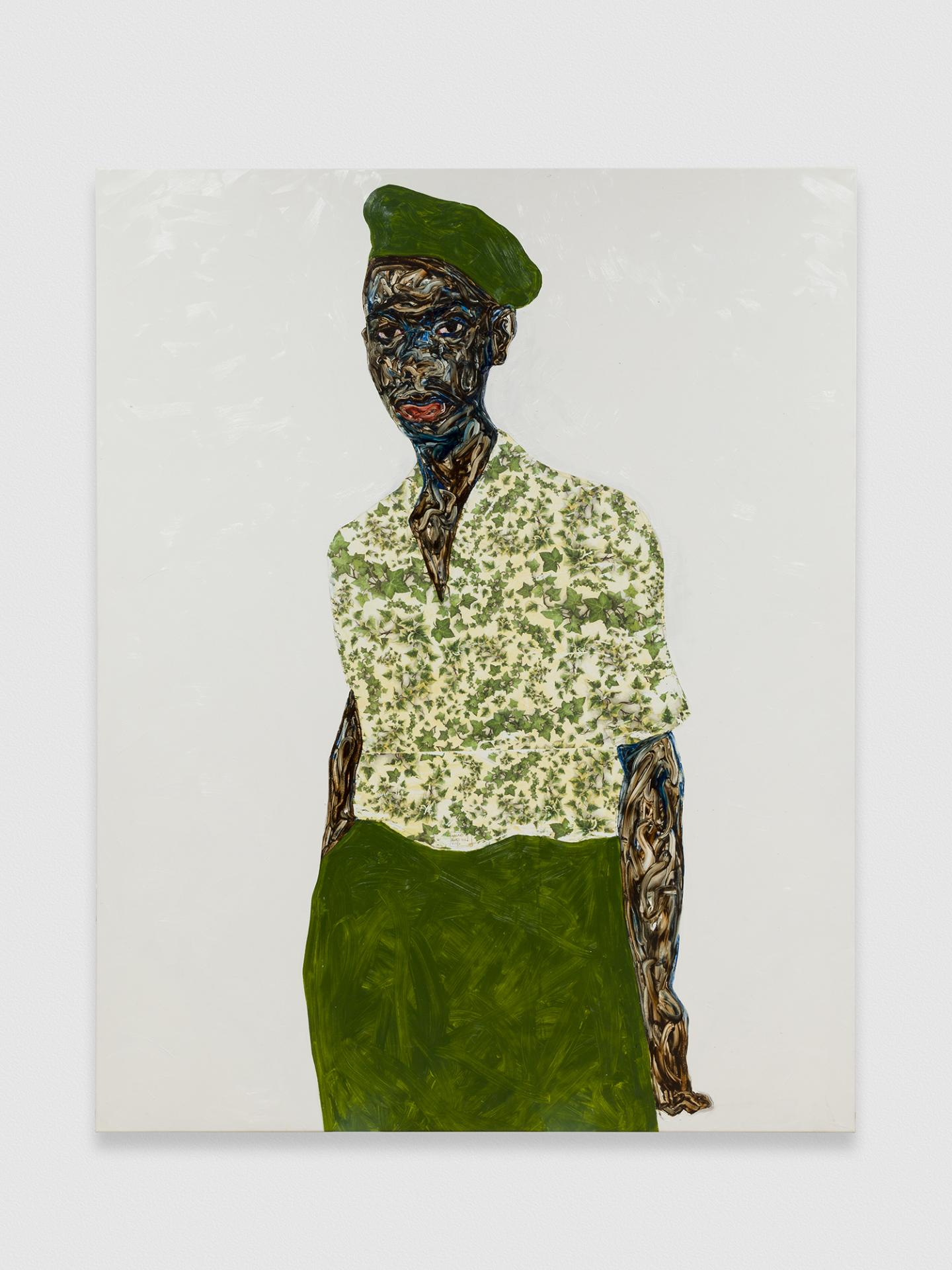Amoako Boafo, Green Beret, 2020, oil on canvas, 180 x 160 cm. Courtesy: the artist and Mariane Ibrahim, Chicago.