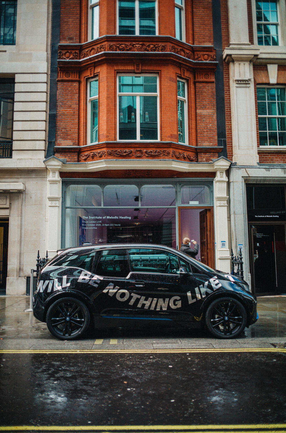 BMW i3 electric by Madeline Hollander in front of No.9 Cork Street