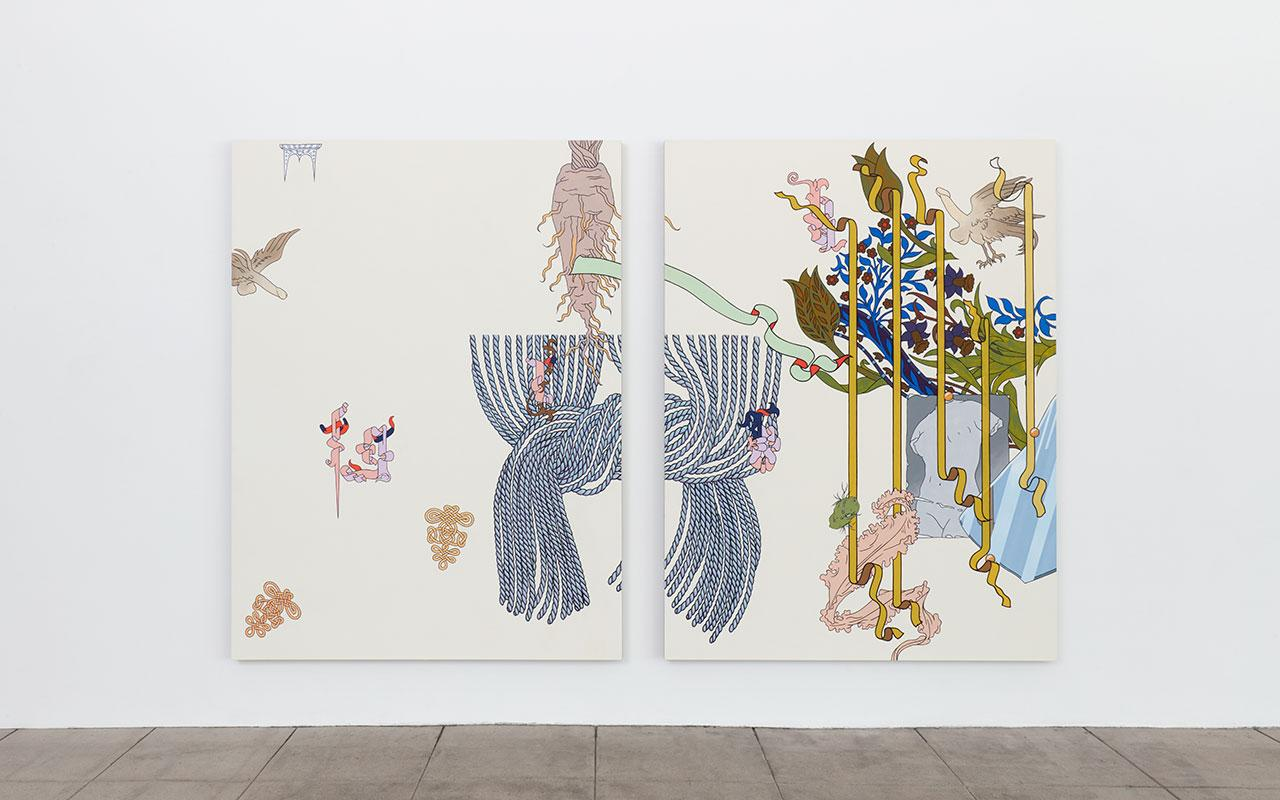 """Installation view of """"Waxing Year"""" at Overduin & Co., Los Angeles"""