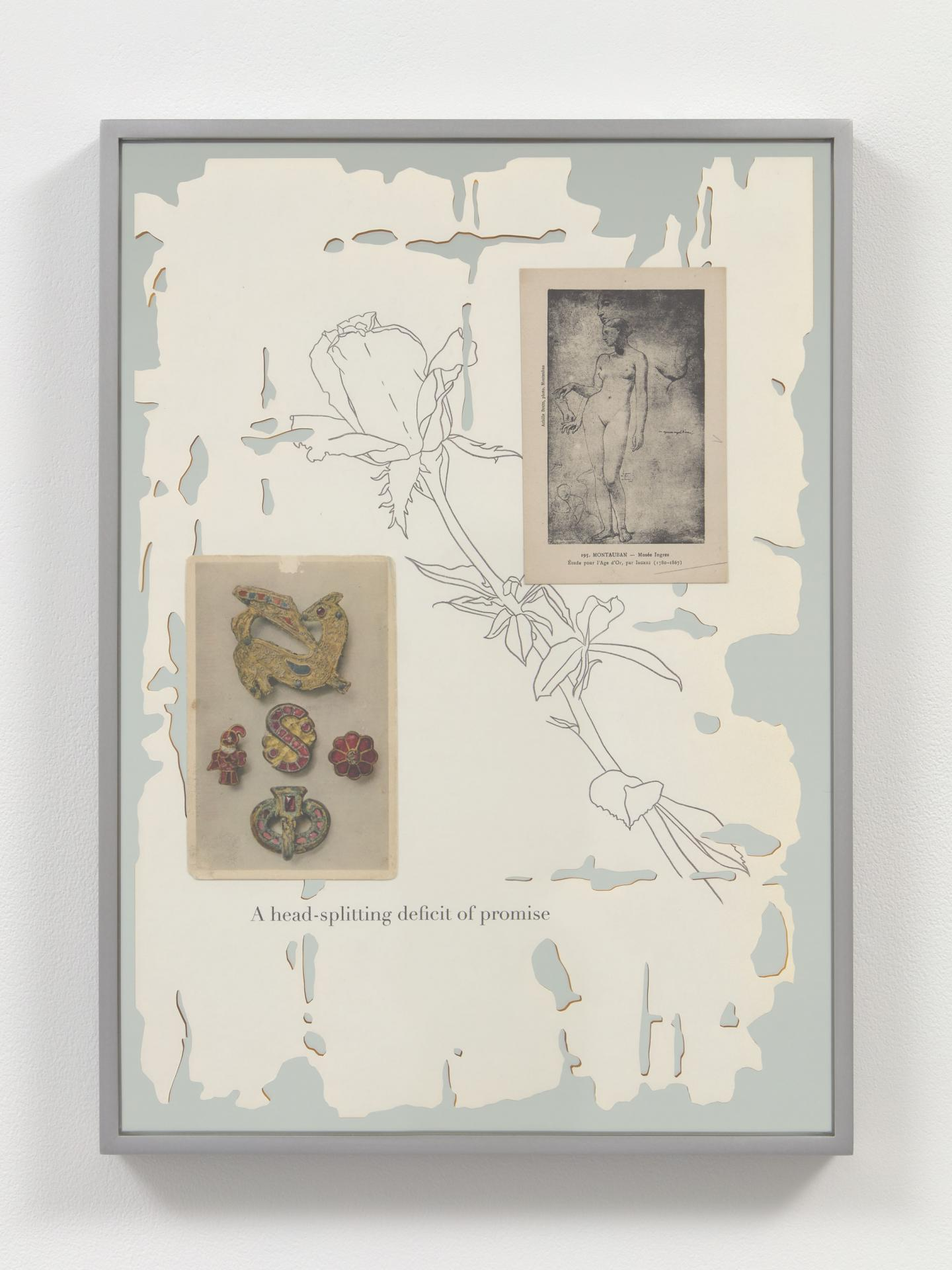 """Caitlin Keogh """"Rose Poem 4"""" ink, colored pencil, acrylic, postcard on paper mounted to mirror 17 3/4 x 12 7/8 x 1 1/4 / 45.08 x 32.7 x 3.17 cm framed"""