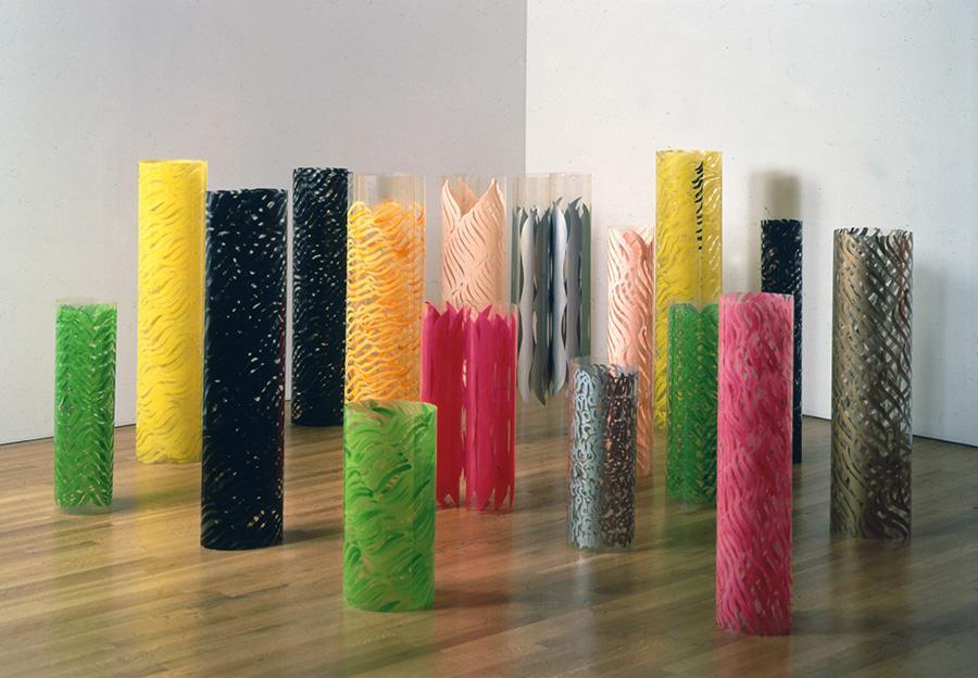 Carla-Accardi,-Rotoli-in-sicofoil-dipinto--1965-69,-Galleria-Salvatore-Ala,-N.Y-1989