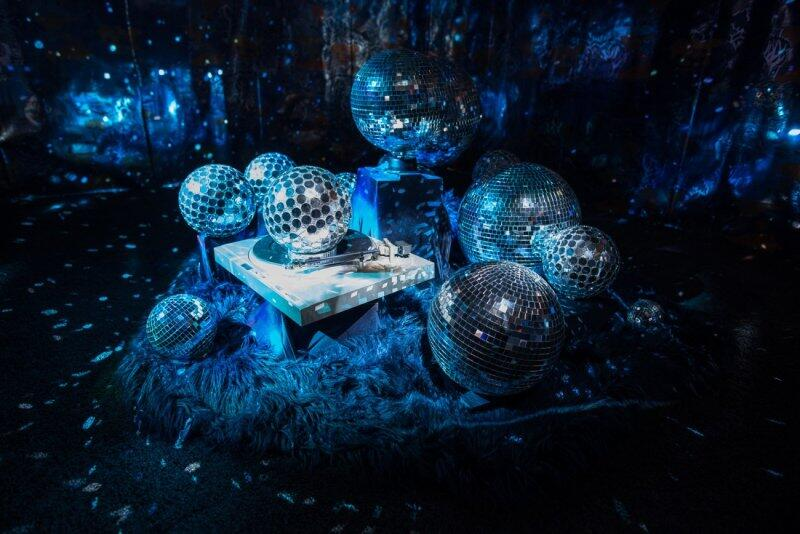 Space Station: Two Rebeccas, 2018 Wallpaper, disco balls, turntable, motor, fur, shag carpet, two projectors, and two-channel digital video (color, sound); Rebecca Jackson: 2 minutes, 25 seconds; Rebecca Peroth: 2 minutes, 57 seconds Courtesy of the artist, Corbett vs. Dempsey, Chicago, and Kate Werble Gallery, New York