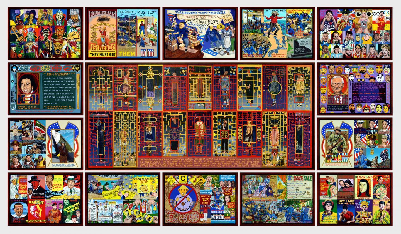 Ben Sakoguchi Chinatown, 2014 Acrylic on canvas, wooden frames (15 panels) 53 x 91 in (134.6 x 231.1 cm)