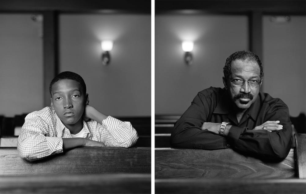 Dawoud Bey   Braxton McKinney and Lavon Thomas, Birmingham, AL, 2012   signed by artist on label, verso   archival pigment print, diptych   print: 40 x 32 inches (101.6 x 81.3 cm) each  framed: 40 13/16 x 32 13/16 x 1 5/8 inches (103.7 x 83.3 x 4.1 cm) each  overall: 40 13/16 x 65 5/8 x 1 5/8 inches (103.7 x 166.7 x 4.1 cm)   edition of 6 with 2 APs    © Dawoud Bey   Courtesy: the artist and Sean Kelly, New York