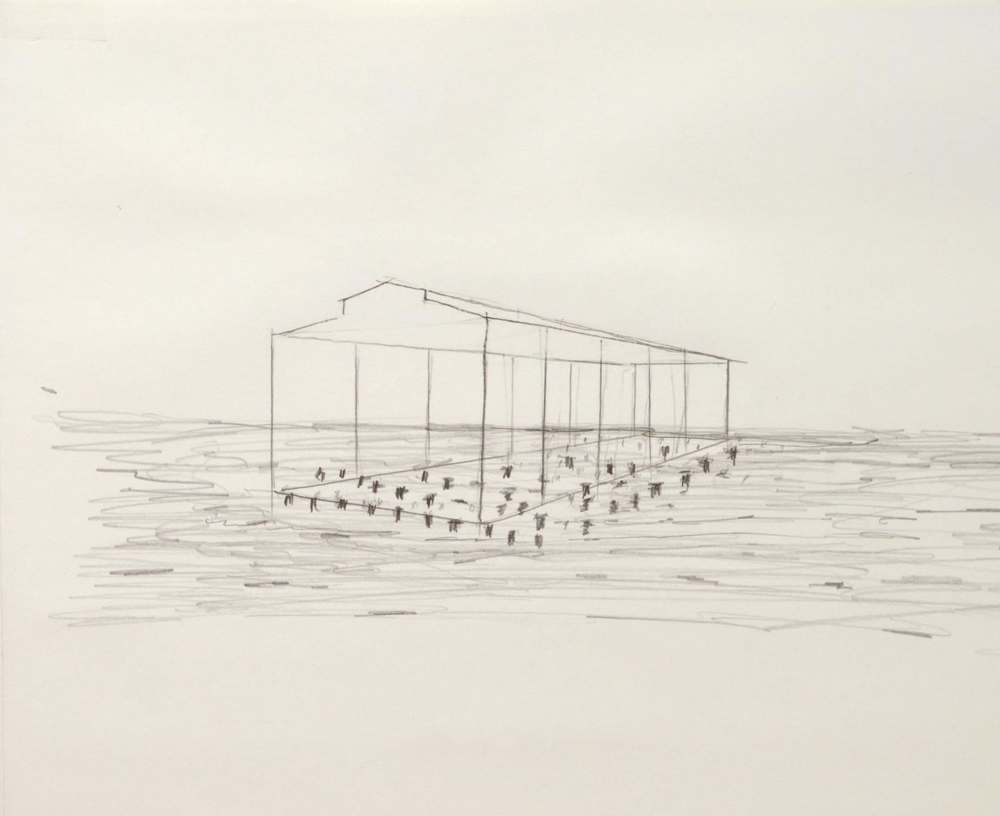 David Hammons (b. 1943), Sketch for Day's End, a proposed public art project.