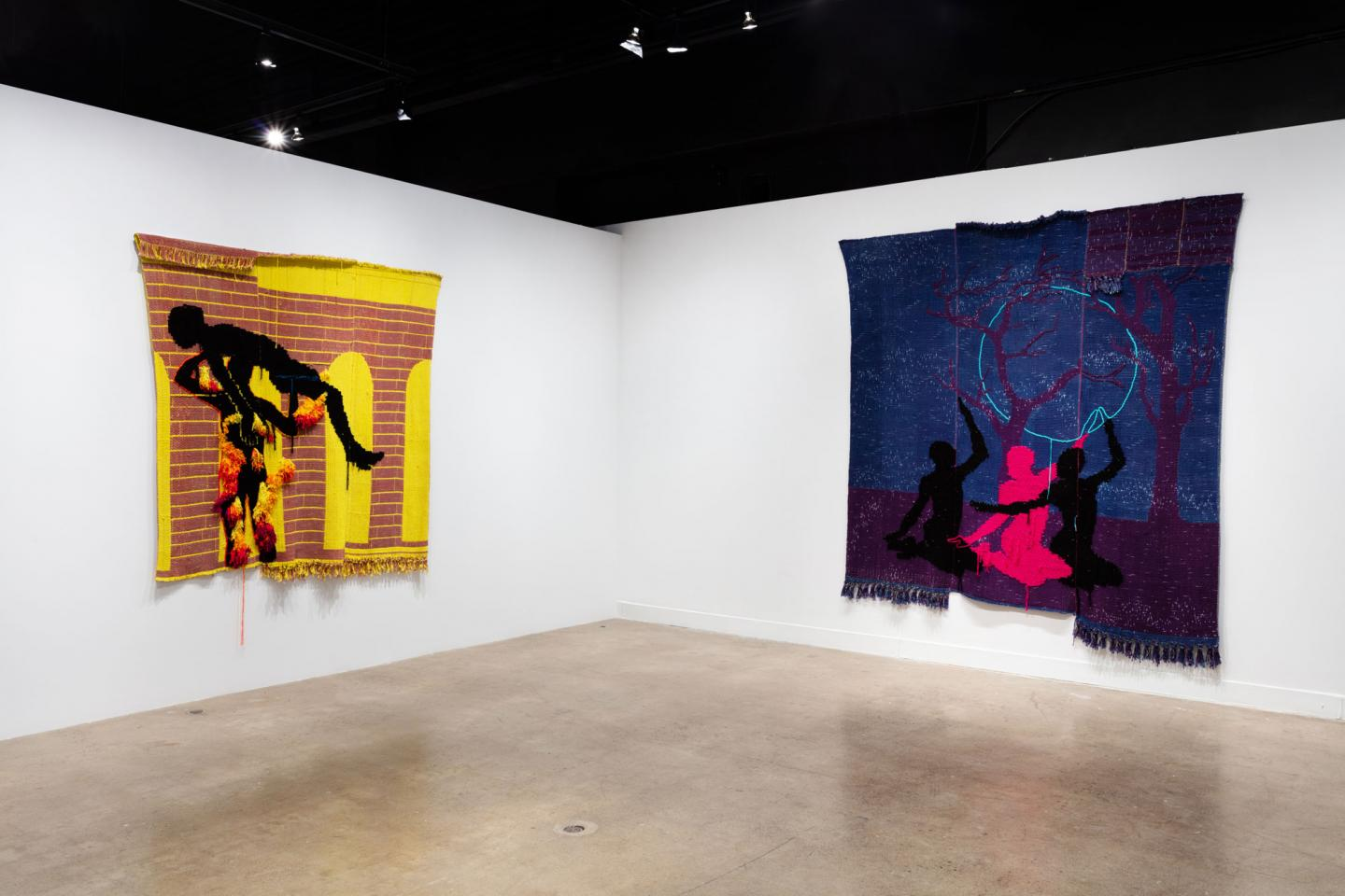 Installation view of Diedrick Brackens: shape of a fever believer, 2021. Left: fire makes some dragons, 2020, woven cotton and acrylic yarn. Right: flying geese, 2020, woven cotton and acrylic yarn. Photo: Laura Findlay.