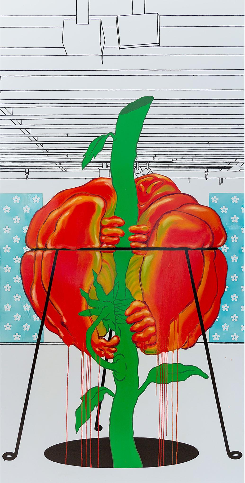 Ebecho Muslimova, Fatebe Heirloom, 2020, enamel on Dibond aluminium, 2.5 × 2.5 m. Courtesy: the artist, Galerie Maria Bernheim, Zurich, and Magenta Plains, New York; photograph: Daniel Terna