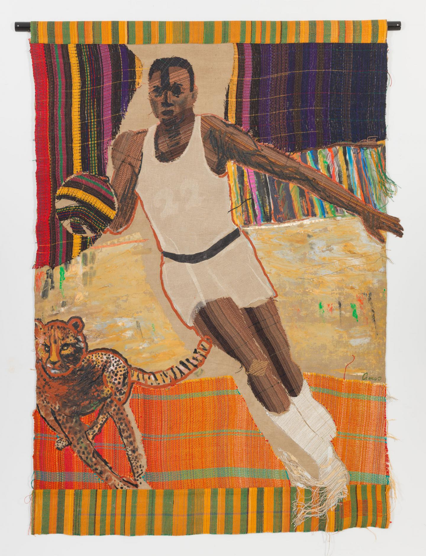 Emma Amos,22 and Cheetah, 1982, acrylic on canvas with hand-woven fabric, 215 × 190 cm. Courtesy: the Georgia Museum of Art, Athens