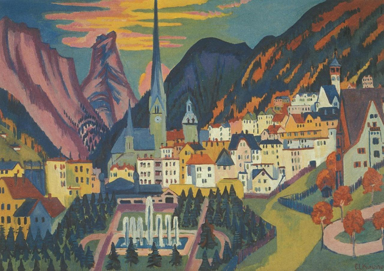Ernst Ludwig Kirchner, Davos mit Kirche. Davos im Sommer (Davos with Church. Davos in Summer), 1925, oil on canvas, 1.2 × 1.7 m.