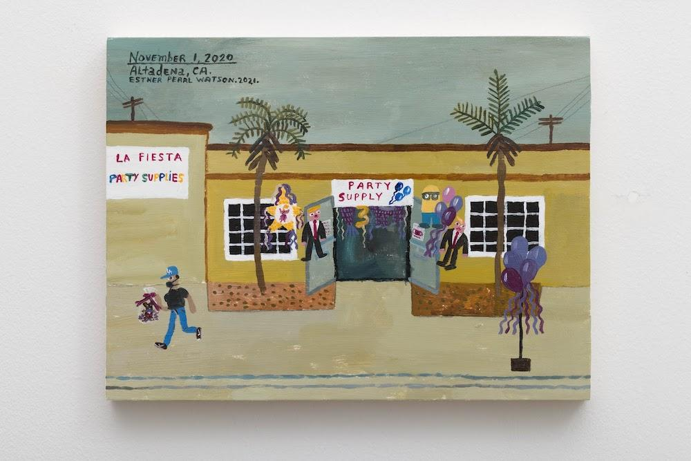 """sther Pearl WatsonNovember 1, La Fiesta Party Supply, 2020 Acrylic on panel9"""" x 12"""" x ⁷⁄₈"""" [HxWxD] (22.86 x 30.48 x 2.21 cm) Gallery Inventory#EPW391 Signed and dated on back  Courtesy of the artist and Vielmetter Los Angeles  Photo credit: Jeff McLane"""