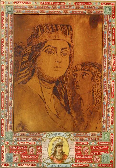 Felipe Jesus Consalvos, Women, c 1920-60 mixed media collage on wood carving