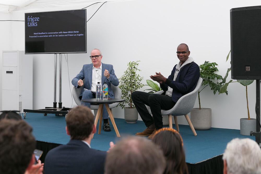 Hans Ulrich Obrist and Mark Bradford at Frieze Masters 2019. Photo by Mark Blower.