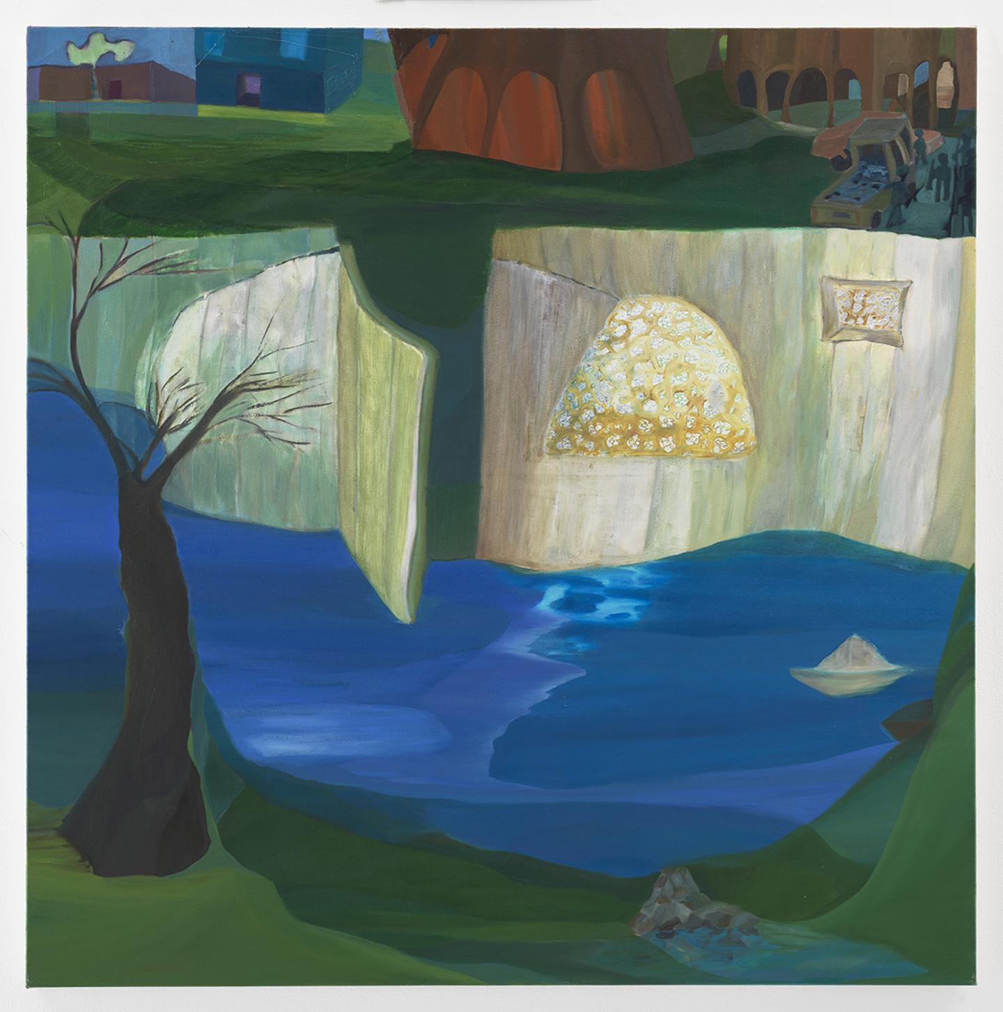 Ficre Ghebreyesus, Gate to the Compound, 2006,  acrylic on canvas, 122.6 x 122.6 cm. Courtesy: Galerie Lelong & Co., New York.