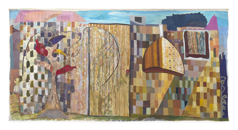 Ficre Ghebreyesus, Zememesh Berhe's Magic Garden, c.2002, acrylic on unstretched canvas, 242.6 x 493.4 cm. Courtesy: Galerie Lelong & Co., New York.