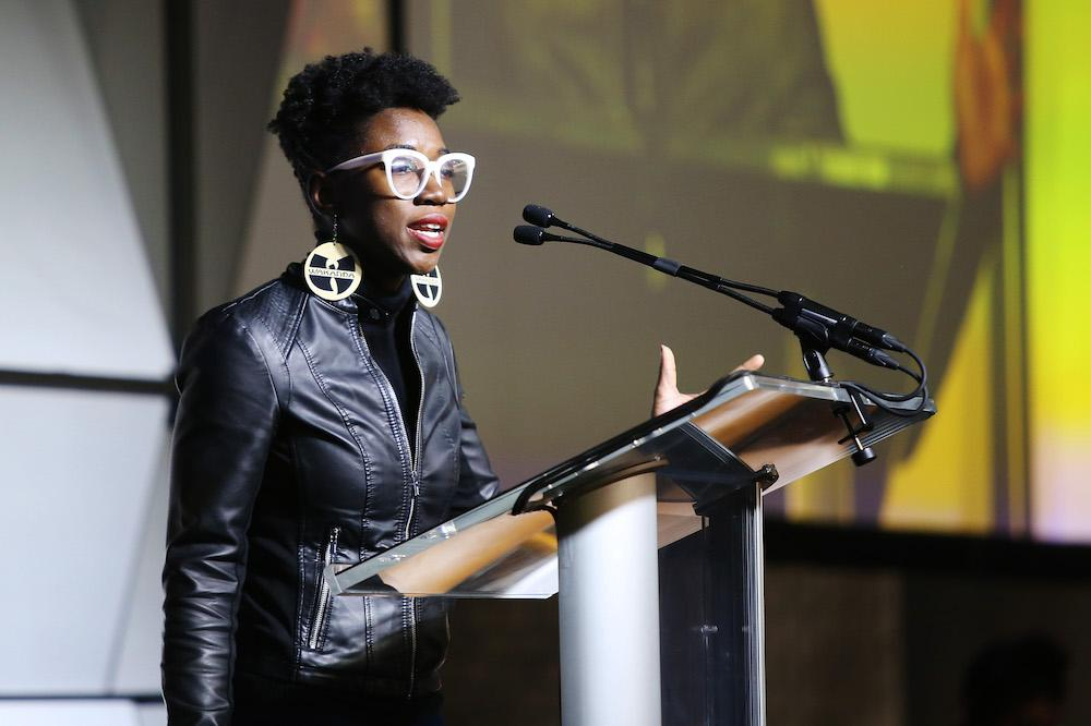 Joy Buolamwini speaks onstage during the 2020 Women at Sundance Celebration hosted by Sundance Institute and Refinery29, Presented by LUNA at Juniper at Newpark on January 27, 2020 in Park City, Utah. (Photo by Suzi Pratt/Getty Images for Refinery29)