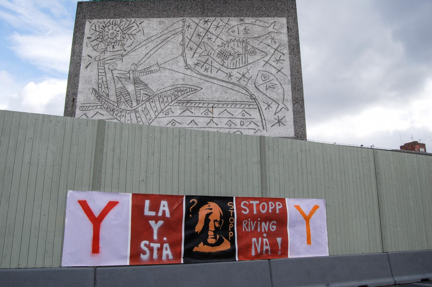 Protest posters in front of Y Building, Oslo, 2020. Courtesy: Getty Images; photograph: Pierre-Henry Deshayes
