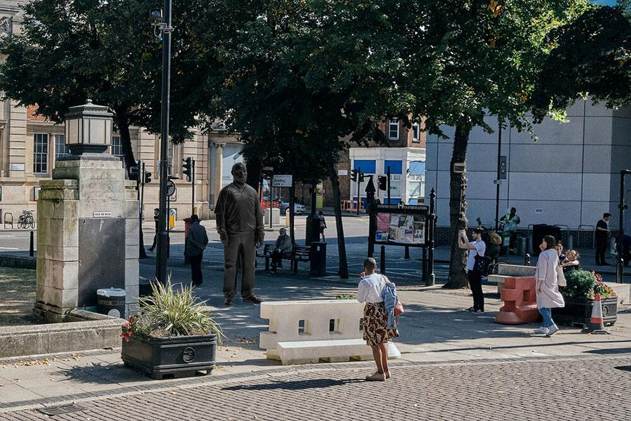 Thomas J Price's example image used for Hackney council Windrush commission proposal, digital render Example images are of Price's previous works, to give a sense of scale and are not themselves the proposed sculptures