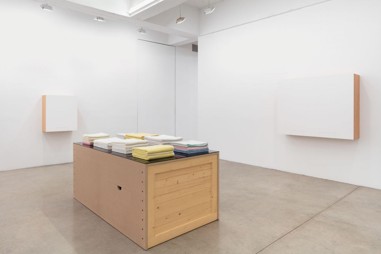 Haim STEINBACH Installation view, Haim Steinbach: 1991–1993, Tanya Bonakdar Gallery, New York, January 14 — February 27, 2021; Photo: Pierre Le Hors Courtesy of the artist and Tanya Bonakdar Gallery, New York / Los Angeles