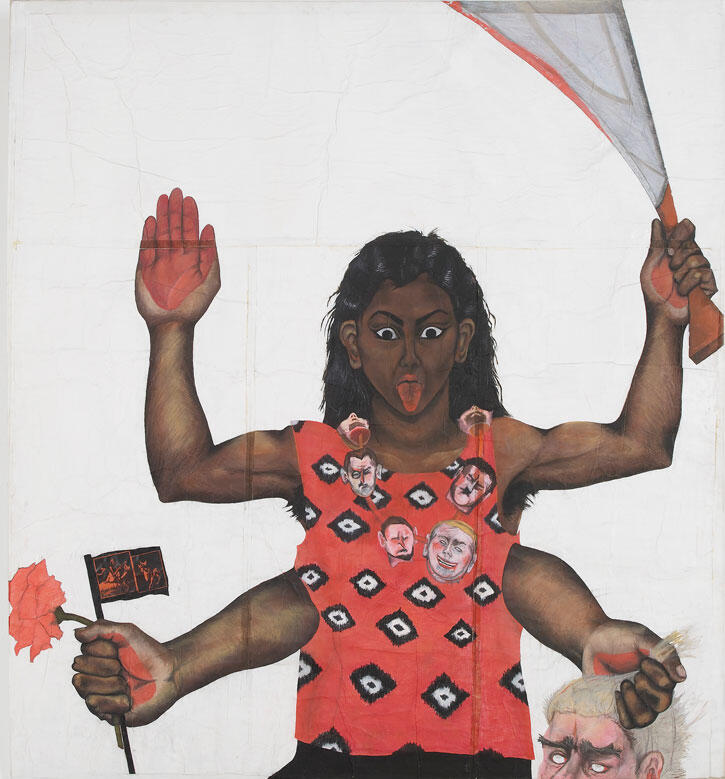 Sutapa Biswas,Housewives with Steak-knives,1983–85, oil, acrylic, pastel, pencil, white tape, collage on paper mounted onto stretched canvas, 245 x 222 cm. Courtesy: the artist and Kettle's Yard, Cambridge; photography: Andy Keate