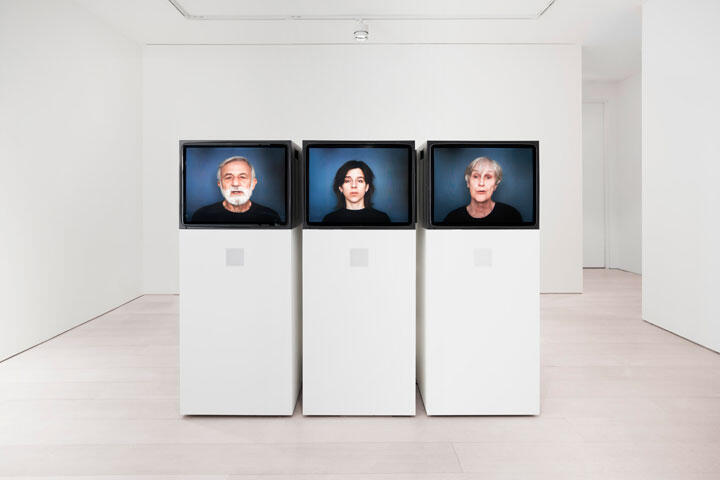 Nina Katchadourian Accent Elimination , 2005 six-channel video with sound, six televisions, three pedestals Dimensions Variable Runtime: 23 minutes and 45 seconds Edition 3 of 3, Edition of