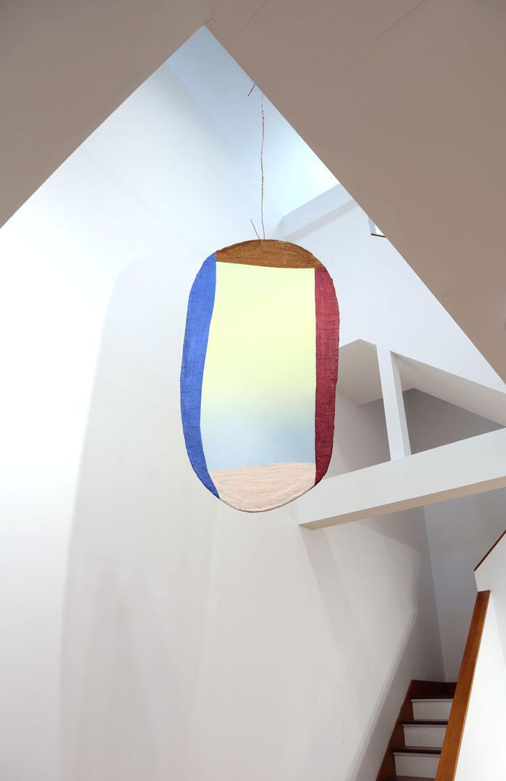 "Fabienne Lasserre, ""Listener 2"", 2020 steel, linen, transparent vinyl, acrylic polymer, acrylic paint  69 x 35 x 1 inches"