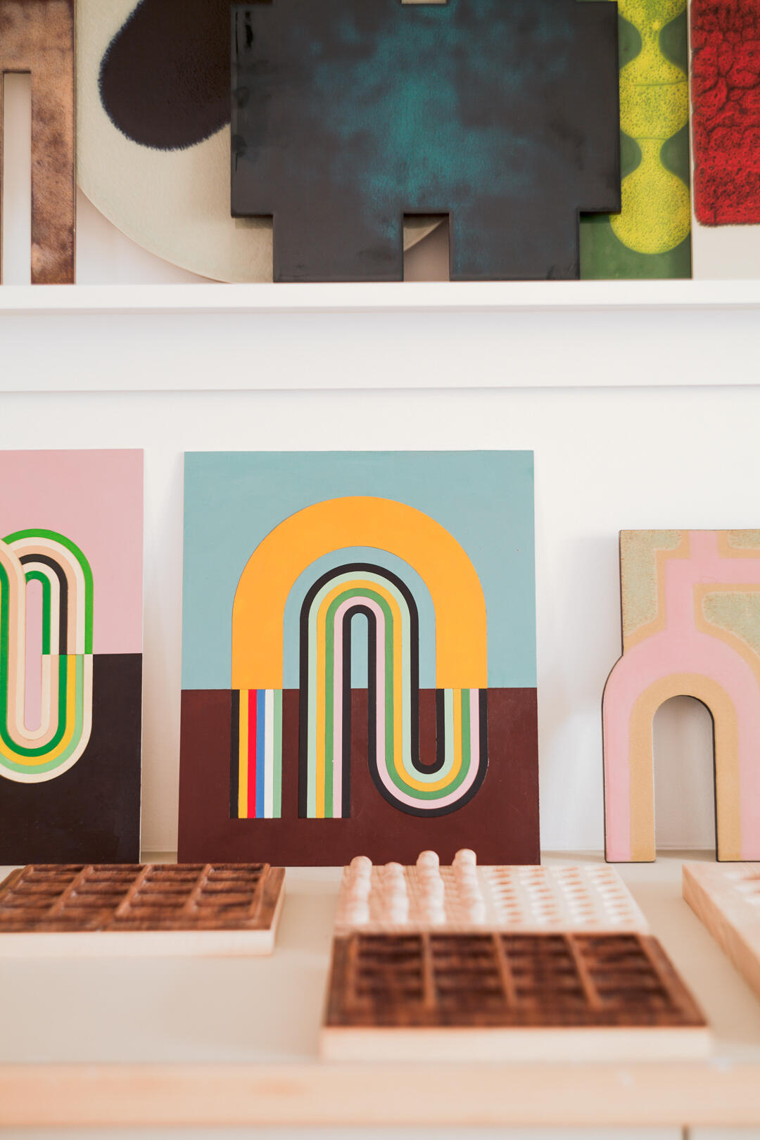 Colourful woodwork and sculpture in studio