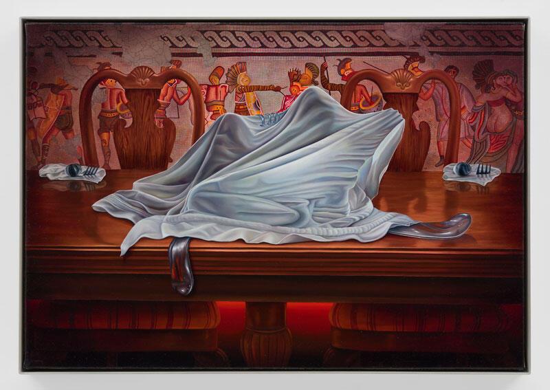 "All's Fair…, 2021 Oil on canvas 18"" x 25 ¹⁄₄"" [HxW] (45.72 x 64.14 cm)"" [HxW] (45.72 x 64.14 cm)"
