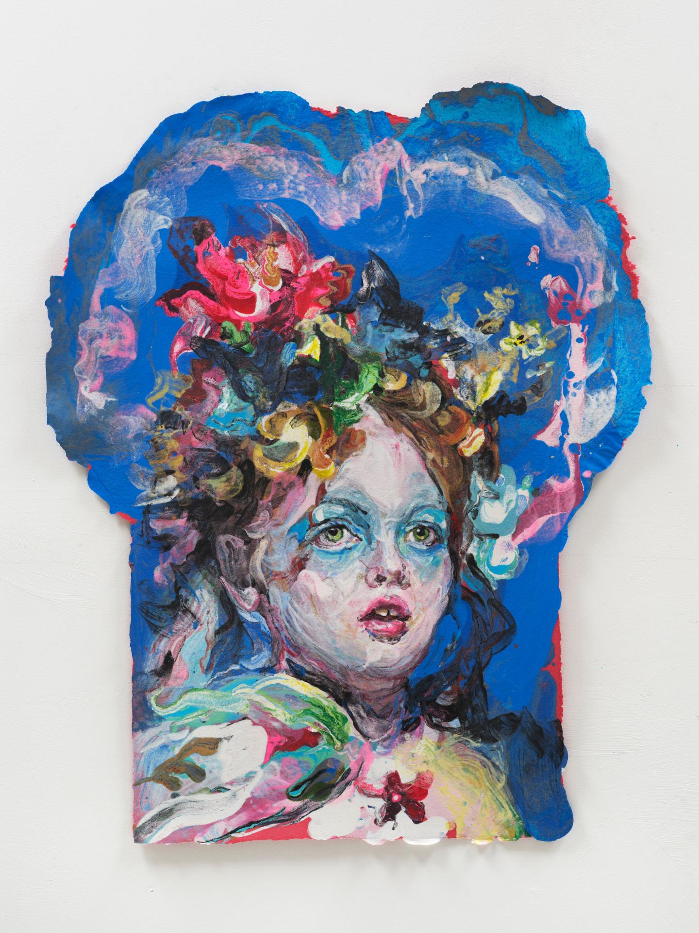 Woman, Blue 2021  Linen paper pulp on cotton base sheet  29 x 21 inches  (73.7 x 53.3 cm)   Inquire