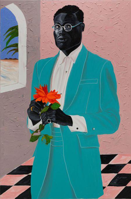 Otis Kwame Kye Quaicoe, View of Yoei William, 2021, oil on canvas. Courtesy: the artist and Avant Arte, New York
