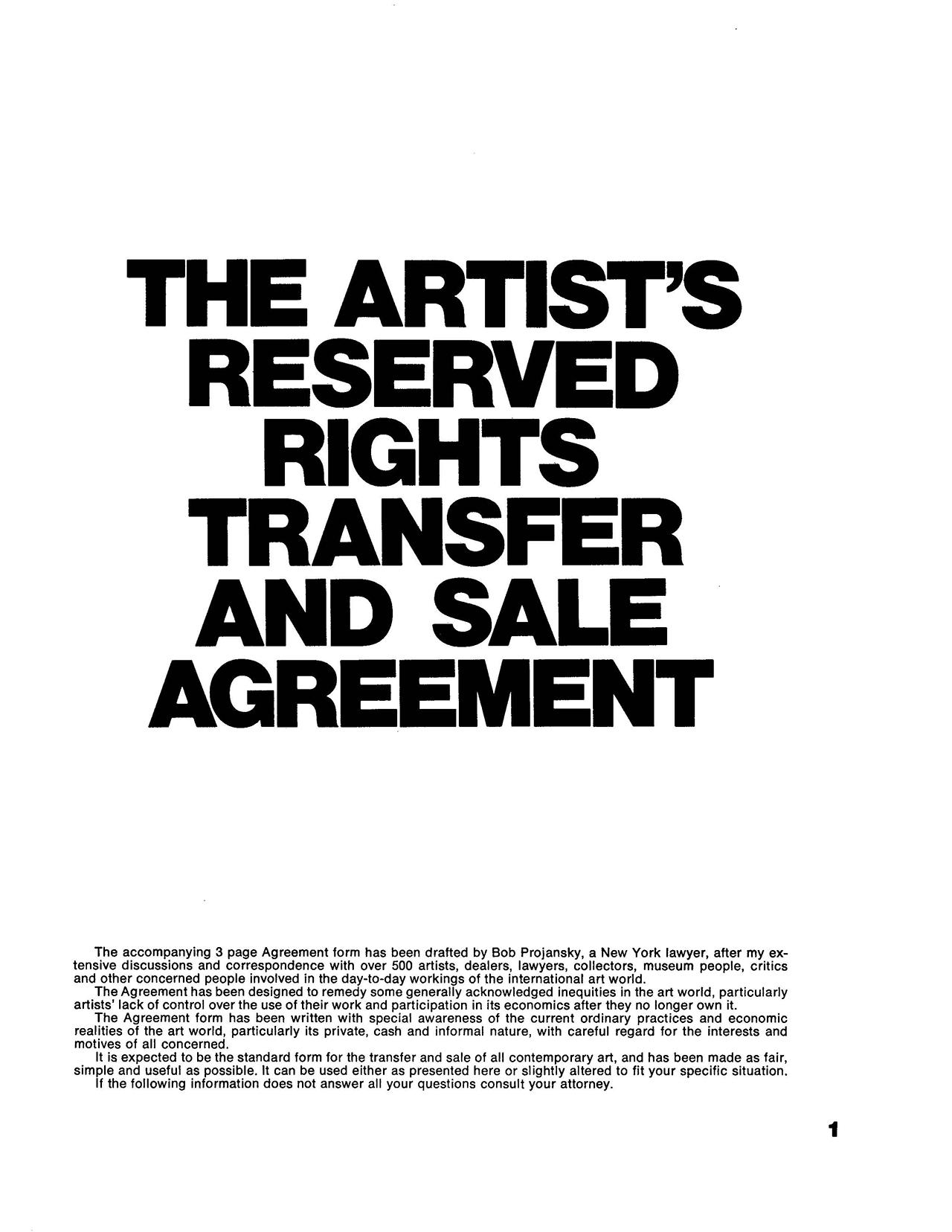 Seth Siegelaub and Robert Projansky, The Artist's Reserved Rights Transfer  and Sale Agreement, 1971. Courtesy: Primary Information