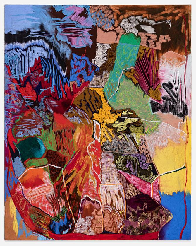 Rachel Jones lick your teeth, they so clutch , 2021 Oil pastel, oil stick on canvas 260 x 160 cm