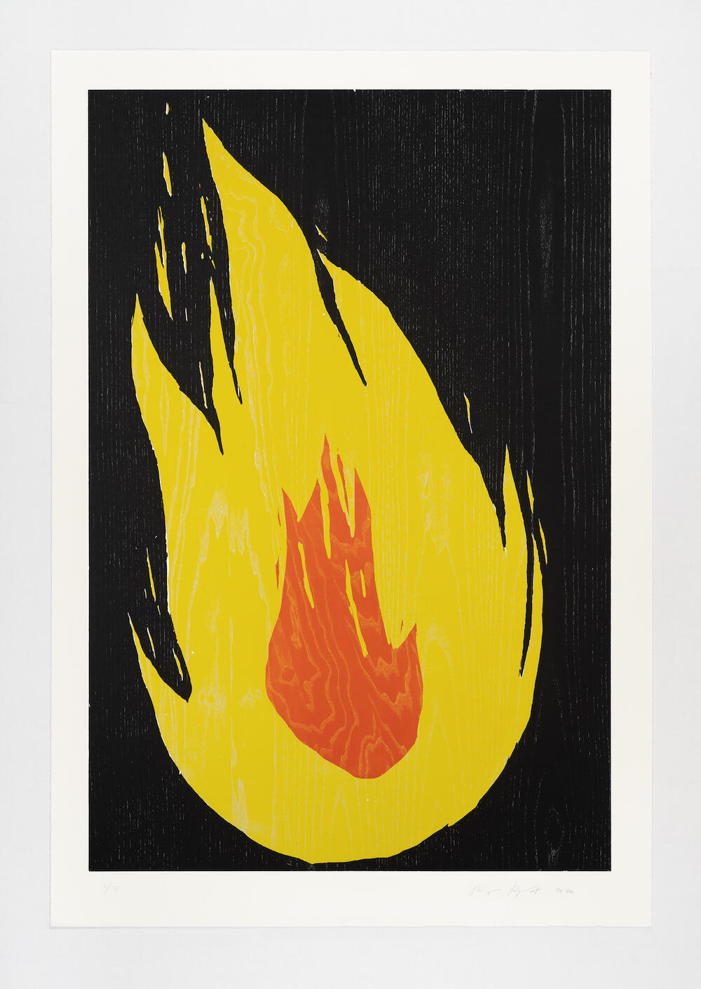 Ragnar Kjartansson, Fire 2, 2020,from the portfolio Fire,woodcut,135 x 93 cm