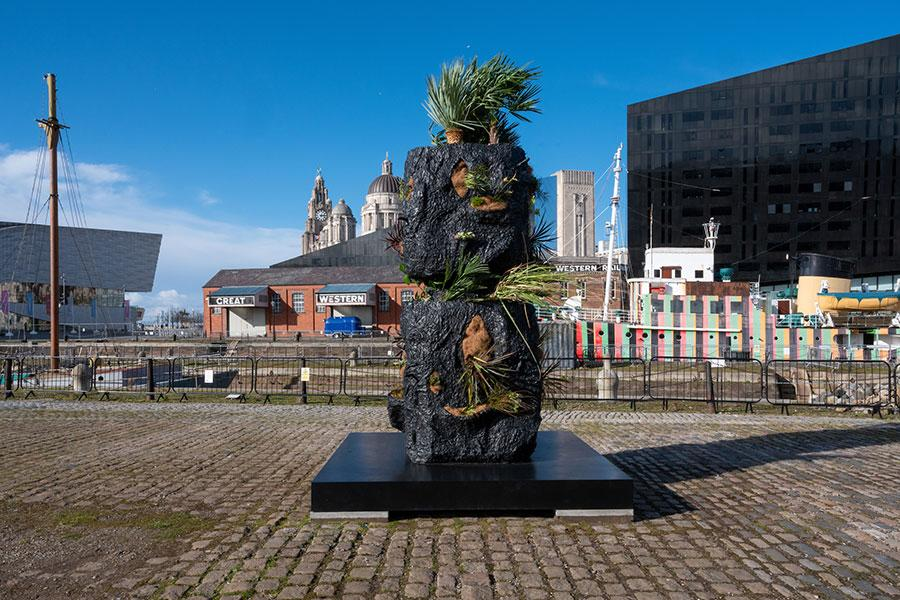 1 Rashid Johnson Image Credits Rashid Johnson, Stacked Heads, 2020. Installation view at Canning Dock Quayside. Photograph: Mark McNulty