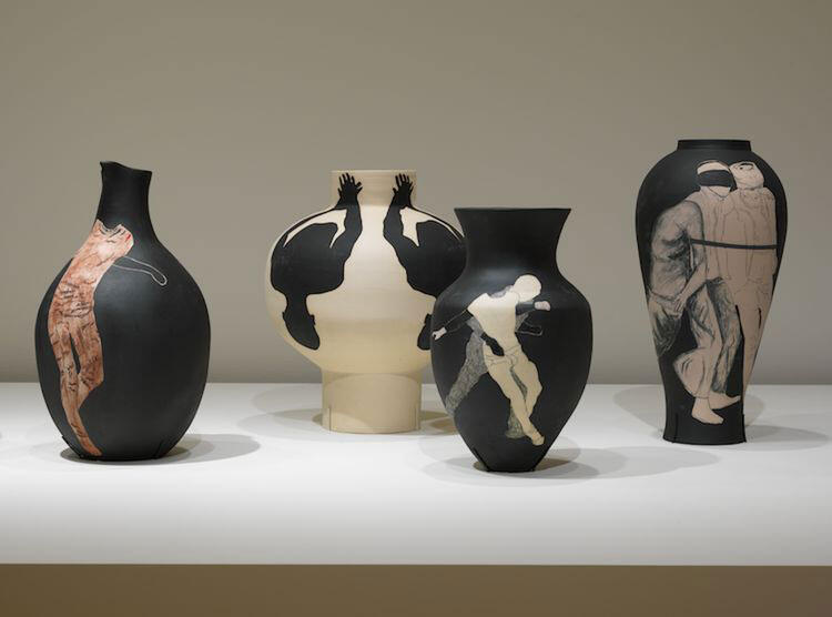 Reza Aramesh, Study of the Vase as Fragmented Bodies (2021). Terracotta and white clay.