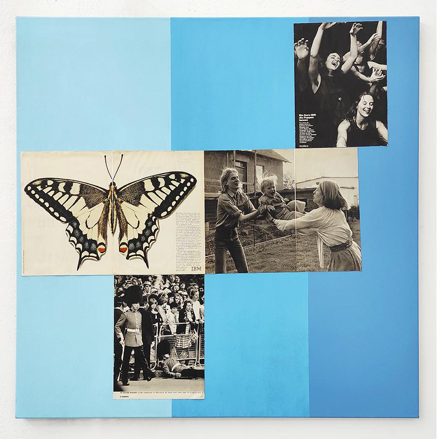 Richard Sides, Stern, 2021, acrylic on canvas, magazine pages, 100 x 100 cm, (courtesy the artist and Schiefe Zähne, Berlin