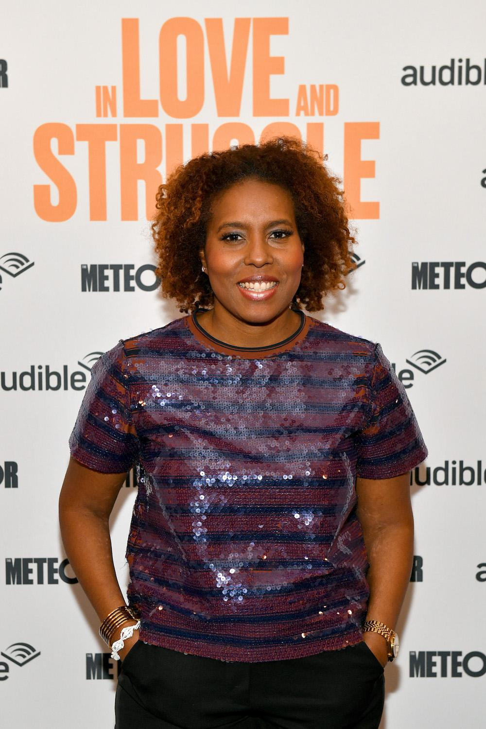 """Salamishah Tillet attends as Audible presents: """"In Love and Struggle"""" at Audible's Minetta Lane Theater on February 28, 2020 in New York City. (Photo by Craig Barritt/Getty Images for Audible)"""