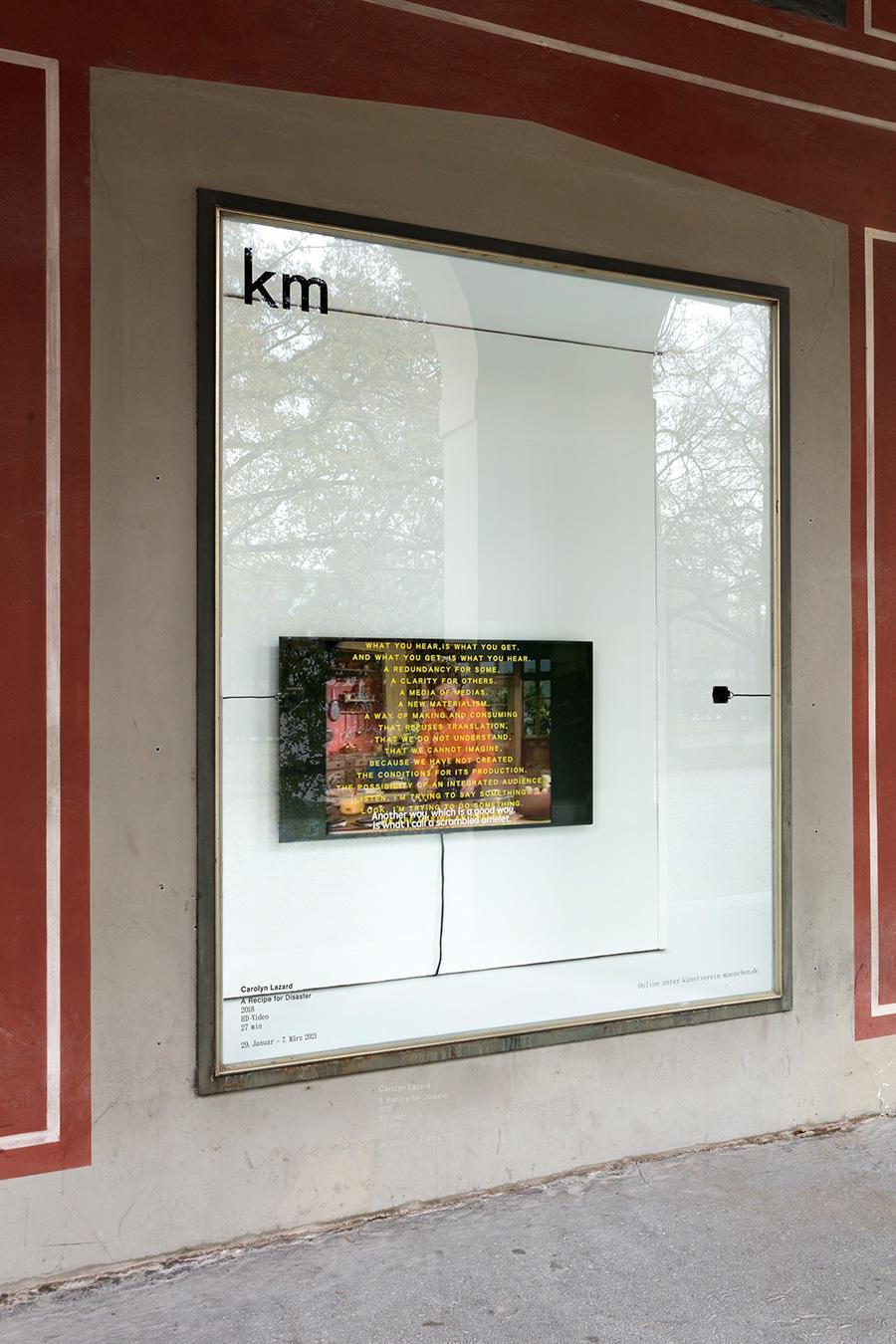 Carolyn Lazard, A Recipe for Disaster, 2018, installation view, Schaufenster, Kunstverein München. Courtesy: the artist