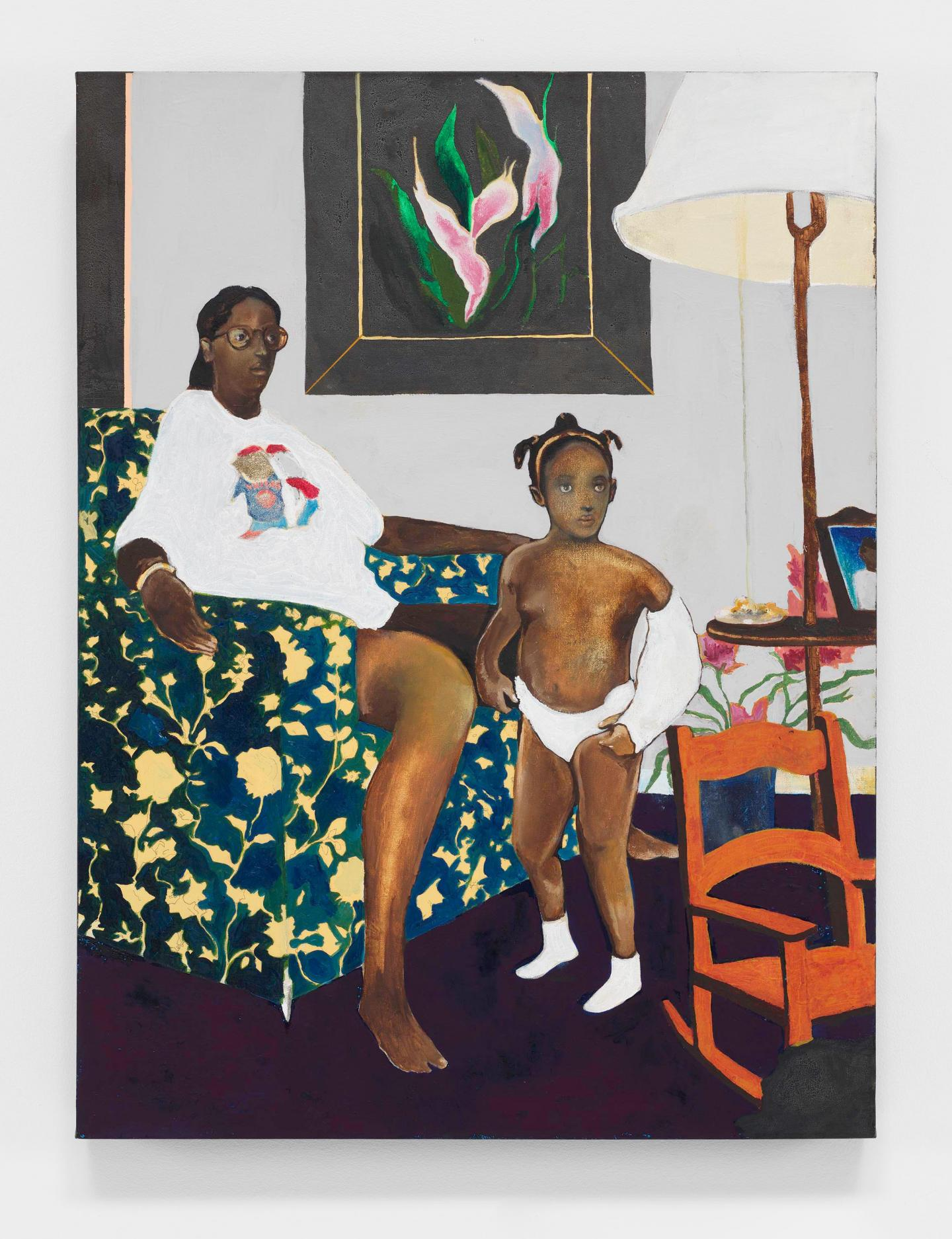 Noah Davis, Single Mother with Father Out of the Picture, olil, acrylic and graphite on canvas, 102 × 77 cm, 2007–2008. Courtesy and © the artist and The Estate of Noah Davis
